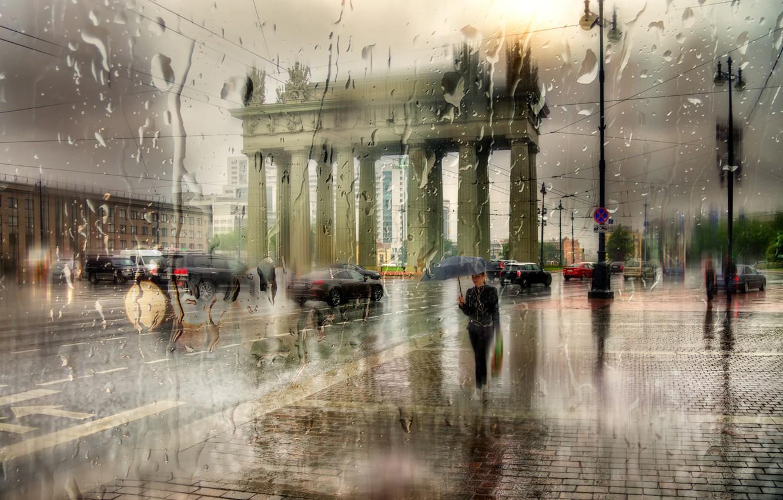Photo wallpaper girl, drops, the city, rain, umbrella, Saint Petersburg, Moskovskie Vorota