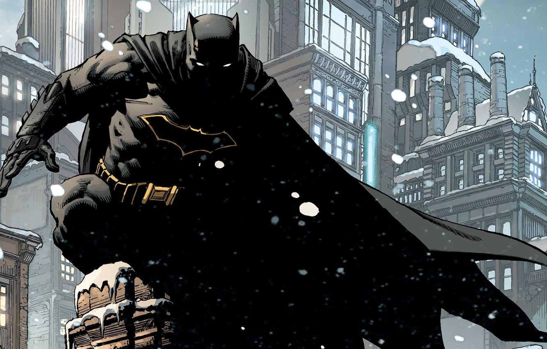 Photo wallpaper Winter, The city, Snow, Batman, Costume, Building, City, Roof, Hero, Mask, Comic, Cloak, Superhero, Hero, …