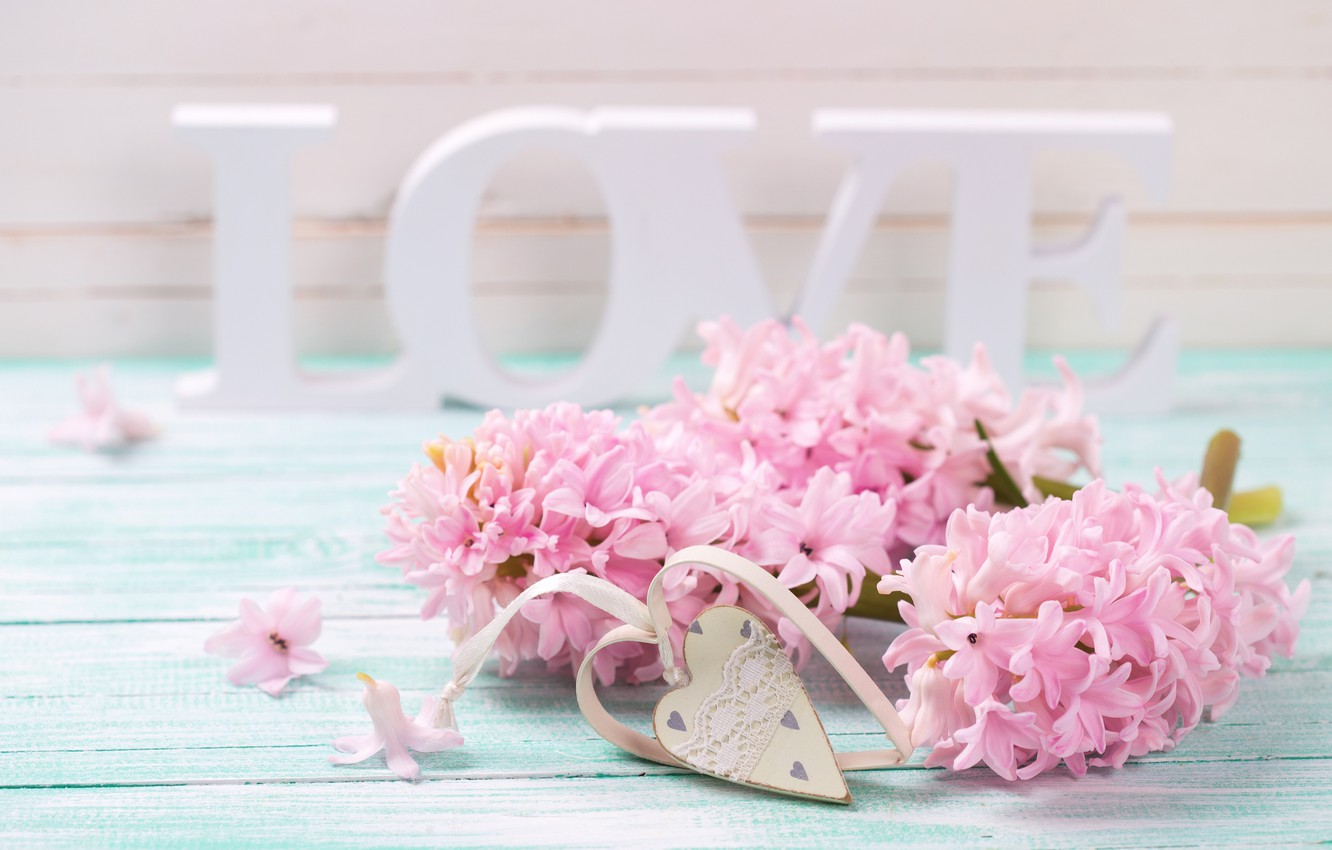 Photo wallpaper love, flowers, letters, love, vintage, heart, flowers, romantic, violet