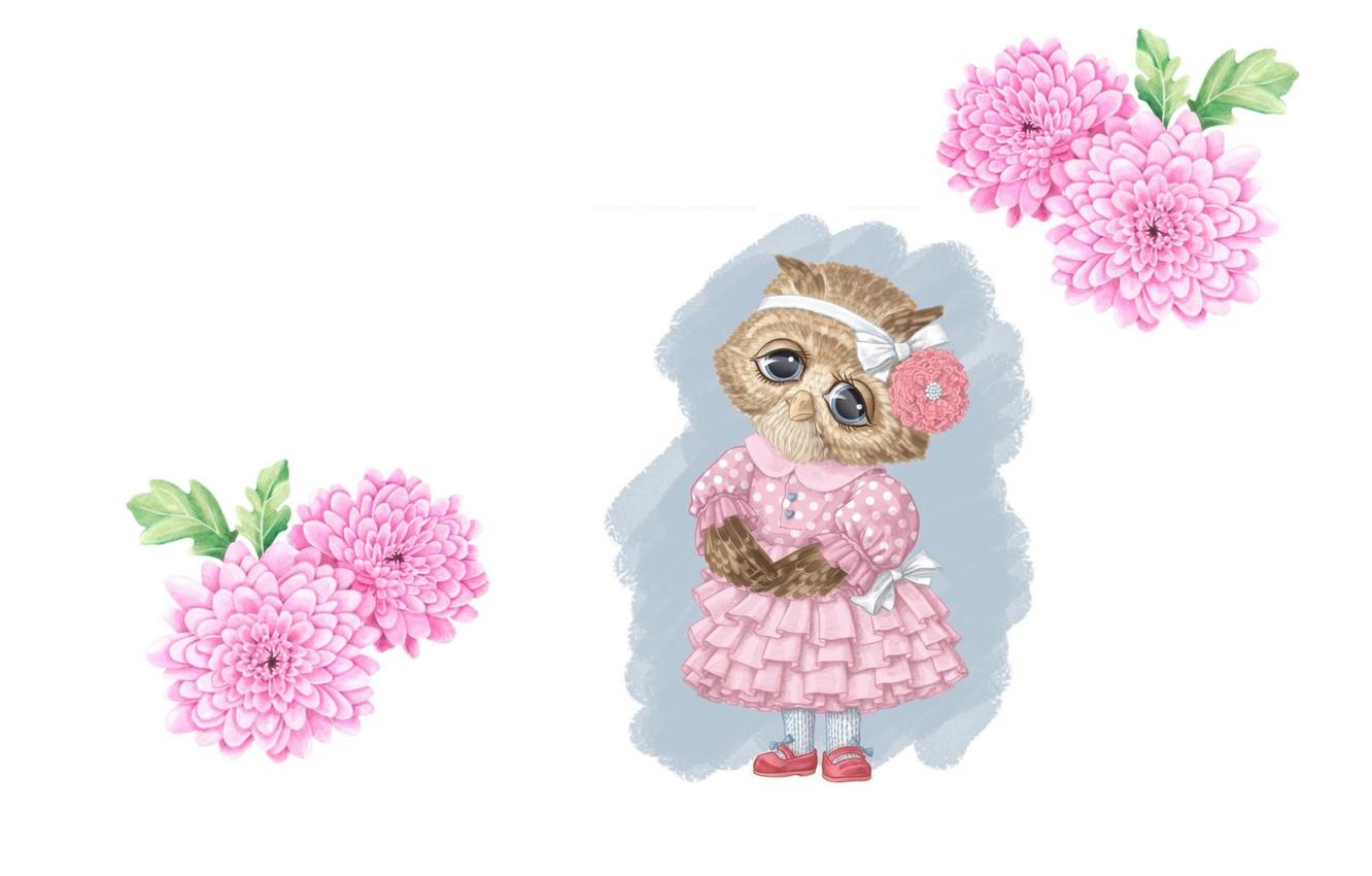 Photo wallpaper flowers, mood, owl, figure, art, pencil, bow, children's, dress