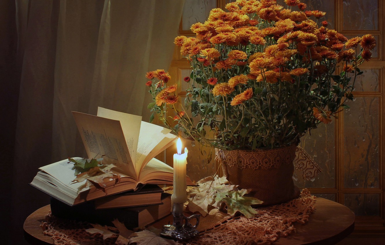 Photo wallpaper leaves, flowers, table, fire, books, candle, vase, still life, orange, chrysanthemum, tablecloth, candle holder