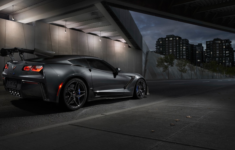 Photo wallpaper Corvette, Chevrolet, ZR1, rear view, 2019