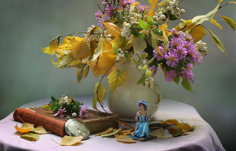 Photo wallpaper leaves, girl, flowers, watch, still life, chrysanthemum, figure