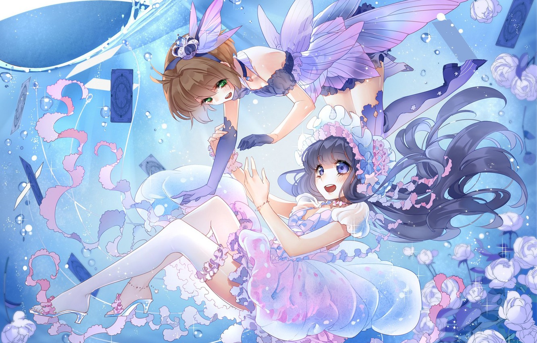 Photo wallpaper card, water, two, stockings, dress, fairy, wings, cap, water lilies, ruffles, Sakura - collector cards, …