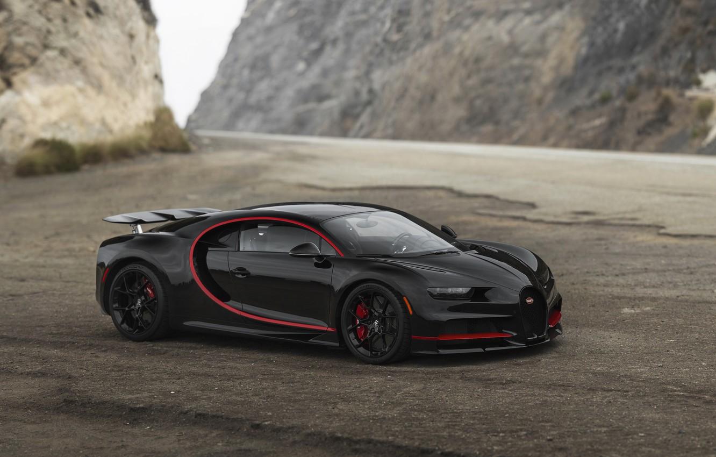Photo wallpaper Bugatti, Black, Grid, RED, VAG, Chiron