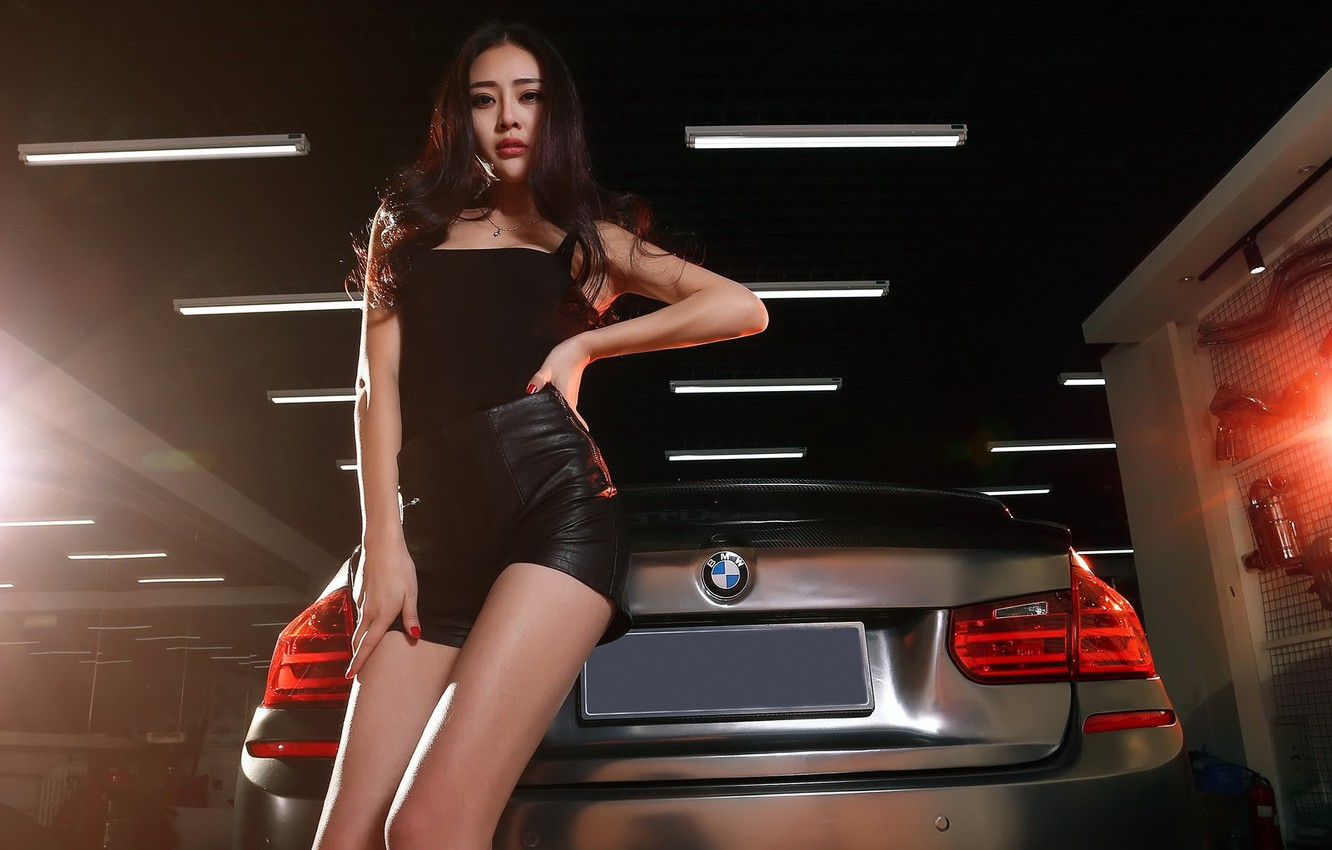 Photo wallpaper auto, look, Girls, BMW, Asian, beautiful girl, leaning on the car