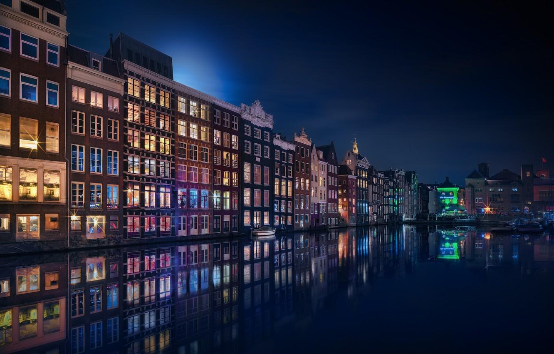 Photo wallpaper light, reflection, night, the city, lights, Amsterdam, channel, Netherlands