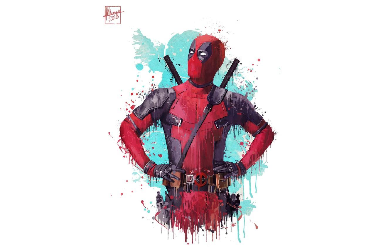 Photo wallpaper superheroes deadpool marvel artwork