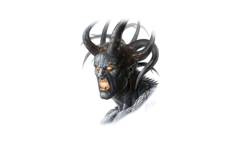Photo wallpaper fear, the demon, fangs, horns