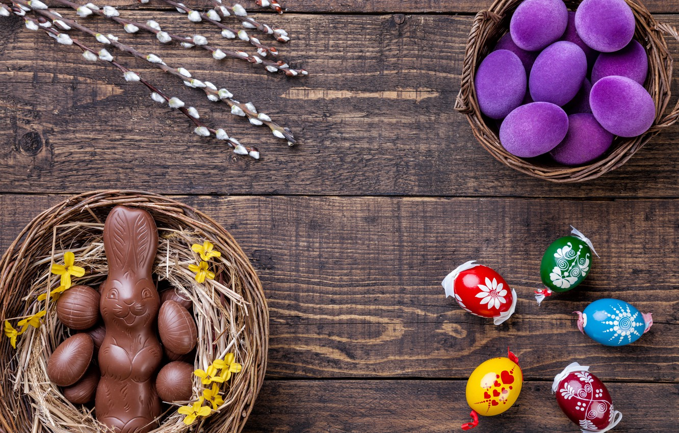 Photo wallpaper chocolate, eggs, colorful, rabbit, candy, Easter, wood, Verba, chocolate, spring, Easter, eggs, bunny, candy, decoration, …