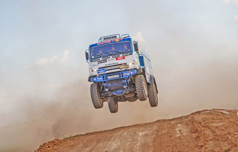 Photo wallpaper Sport, Speed, Jump, Truck, Race, Master, Russia, KAMAZ, KAMAZ, In the air, Best, Master, Flies, …