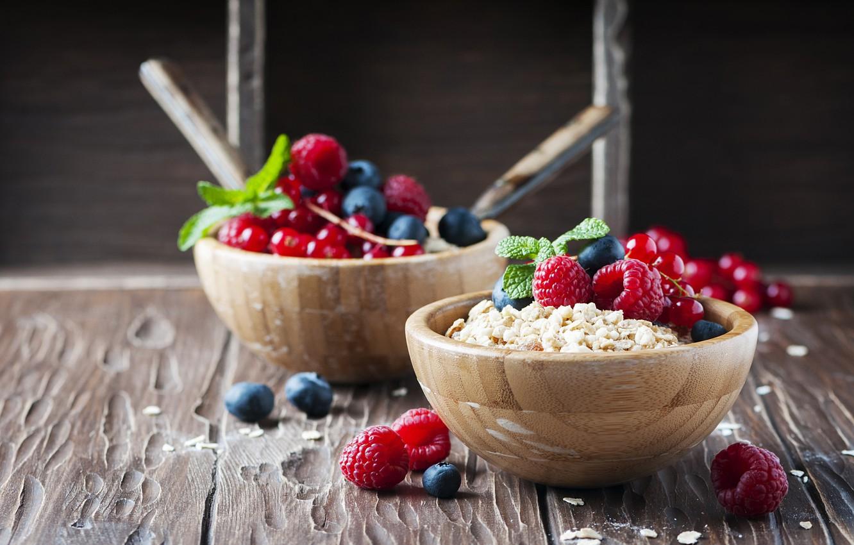 Photo wallpaper berries, raspberry, Breakfast, blueberries, breakfast, muesli, muesli, fresh berries