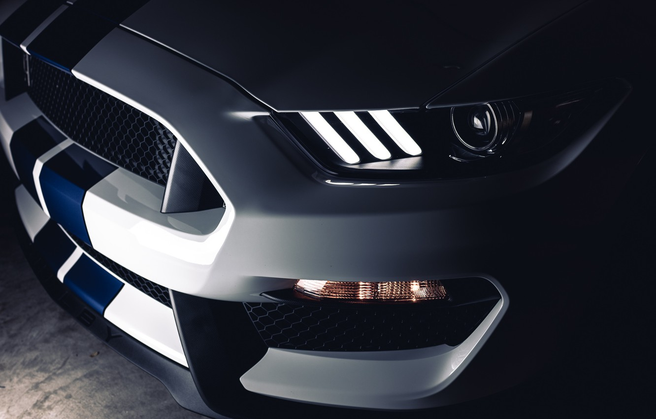 Photo wallpaper Mustang, Ford, Shelby, White, LED