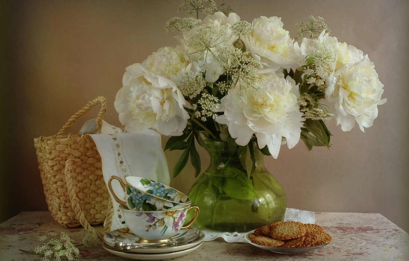 Photo wallpaper flowers, blanket, cookies, the tea party, Cup, vase, still life, basket, table, napkin, saucers