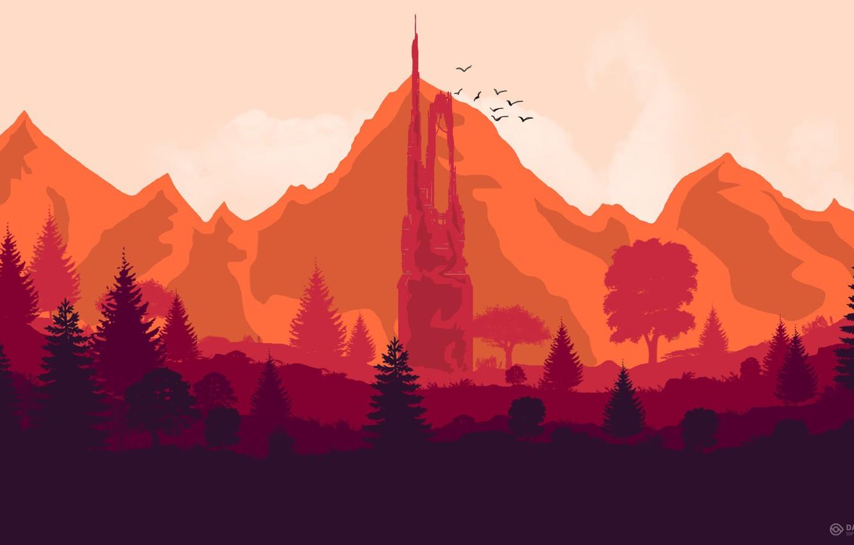 Photo wallpaper Mountains, Tower, The game, Forest, Birds, Hills, Landscape, Art, Art, Campo Santo, Firewatch, Fire watch
