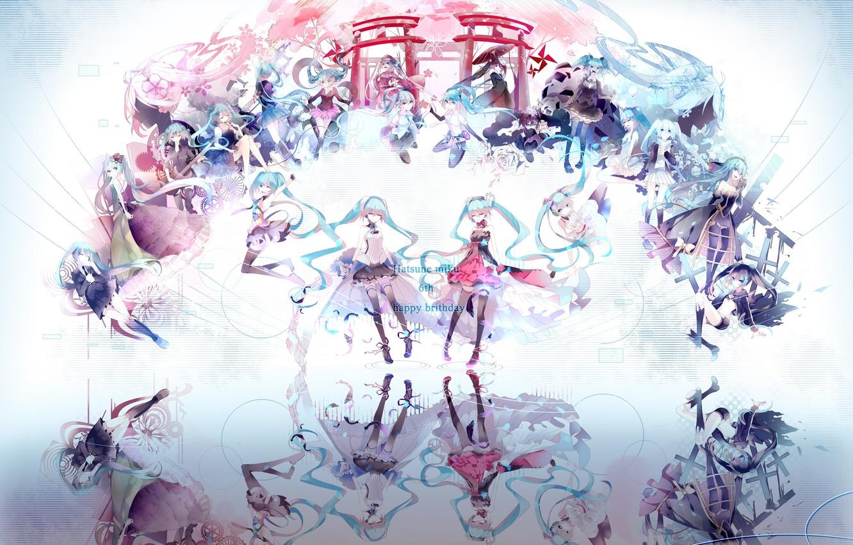 Photo wallpaper reflection, girls, anime, Vocaloid, Hatsune Miku