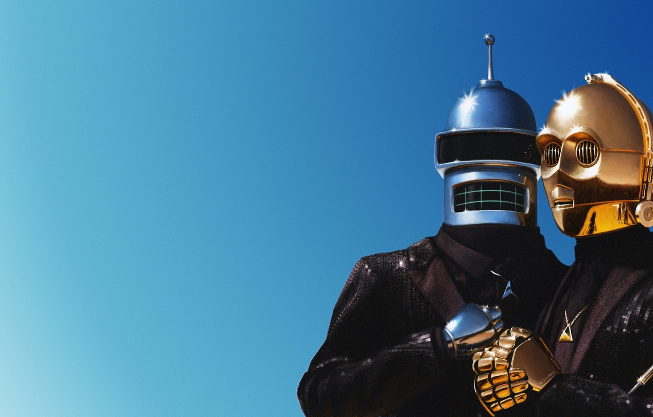 Photo wallpaper Music, Bender, Futurama, Art, Daft Punk, Costumes, Daft Punk, Bender Bending Rodriguez, Starwars, Mask, C-3PO, ...