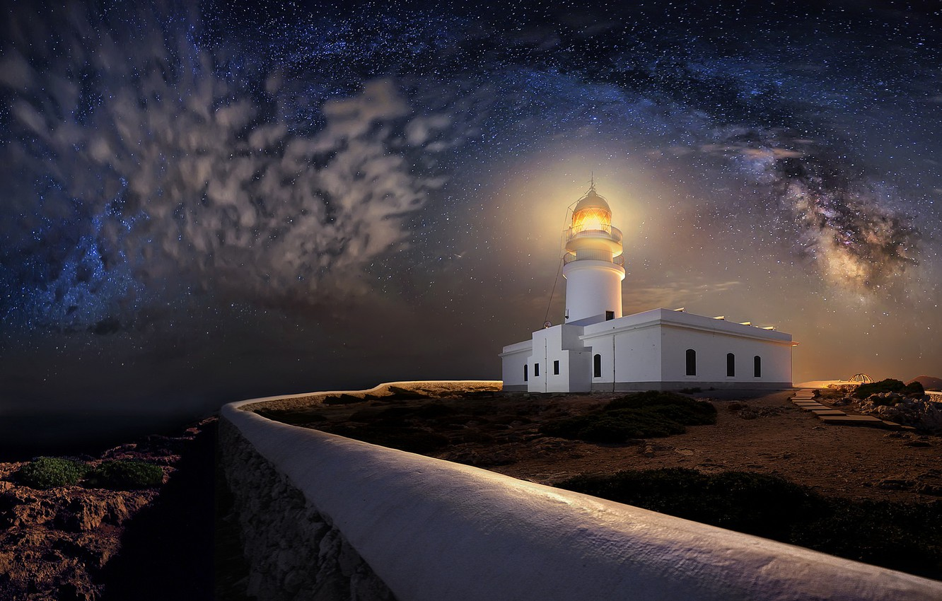 Photo wallpaper night, shore, lighthouse
