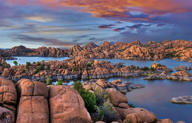 Photo wallpaper rocks, AZ, USA, Granite Dells, lake Watson