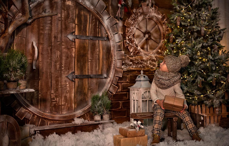 Photo wallpaper holiday, tree, new year, girl