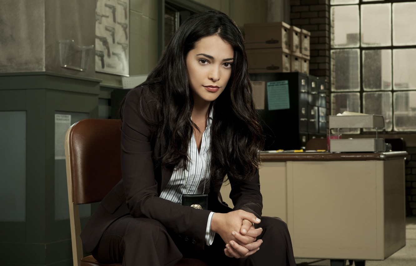 Photo wallpaper table, makeup, actress, costume, sitting, Natalie Martinez, Patrol, Natalie Martinez, End of Watch