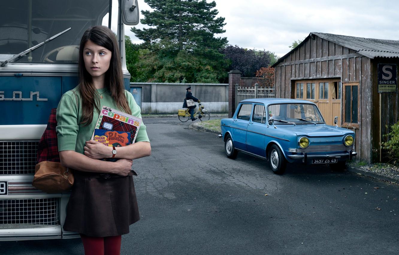 Photo wallpaper auto, girl, the city, retro, bus, Stories