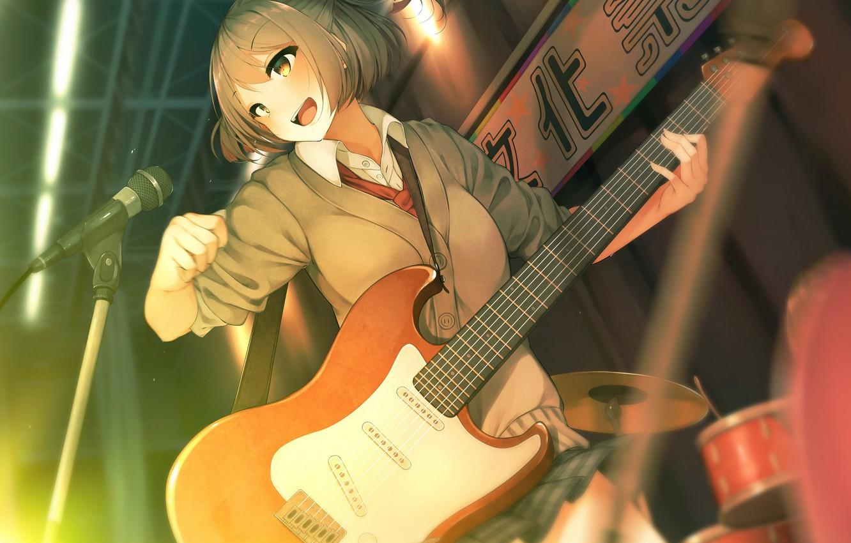 Photo wallpaper music, guitar, anime, girl