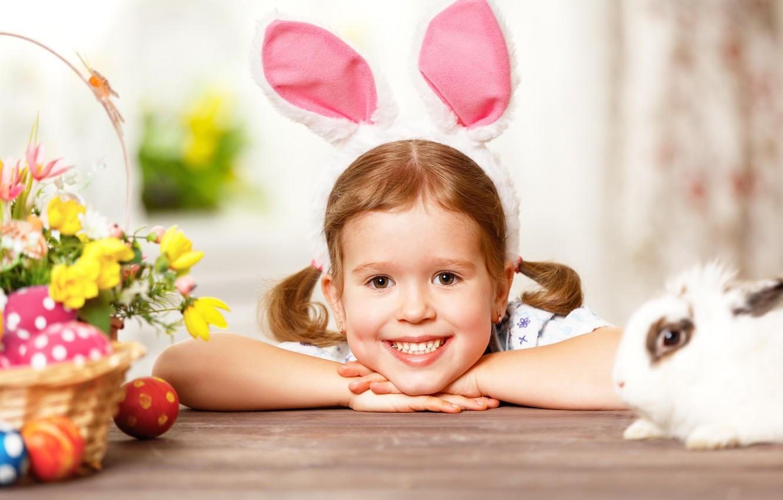 Photo wallpaper eggs, rabbit, girl, Bunny