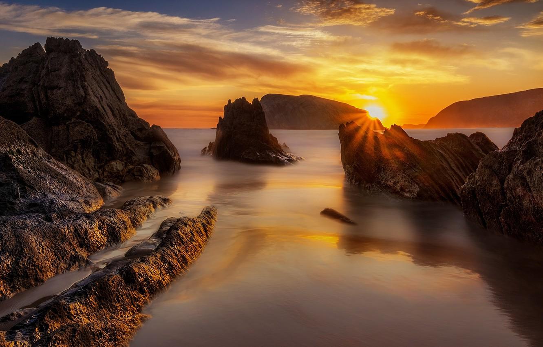 Photo wallpaper sea, the sun, sunset, rocks