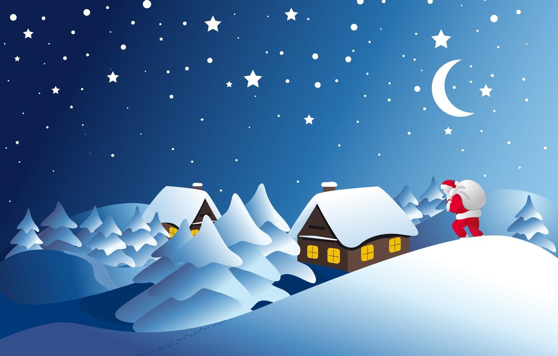 Photo wallpaper winter, snow, nature, home, ate, Santa Claus