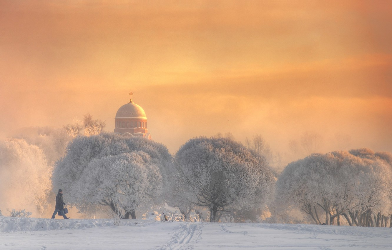 Photo wallpaper winter, frost, snow, trees, Church, male, walk, cold