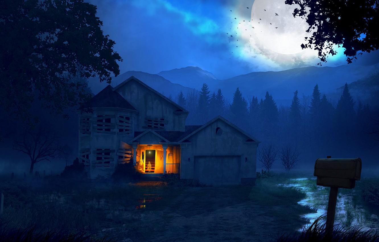 Photo wallpaper forest, mountains, night, house, The house and the ghost