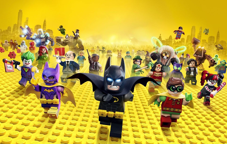 Photo wallpaper city, cinema, Wonder Woman, toy, Batman, yellow, movie, bat, Lego, Robin, hero, film, Two-Face, animated …