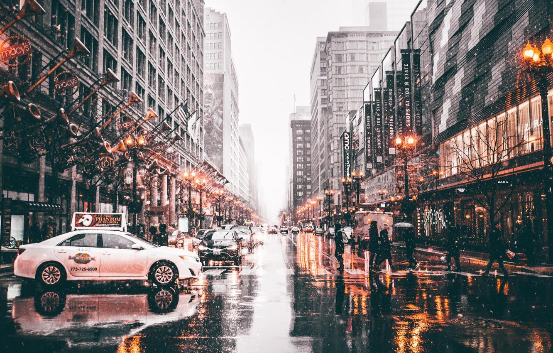 Photo wallpaper machine, the city, lights, people, street, Chicago, USA