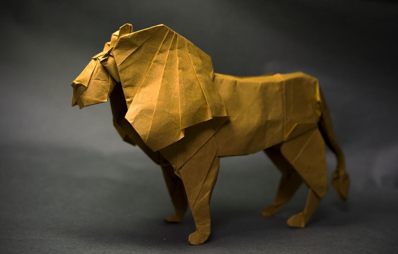 Photo wallpaper paper, Leo, origami