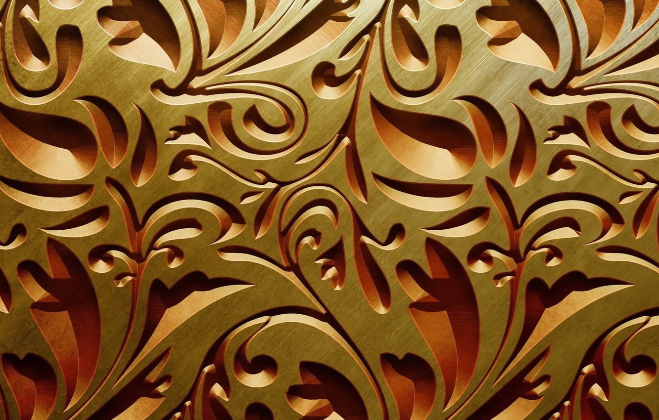 Photo wallpaper curls, texture, woodcarving, light and shadow, an intricate pattern of