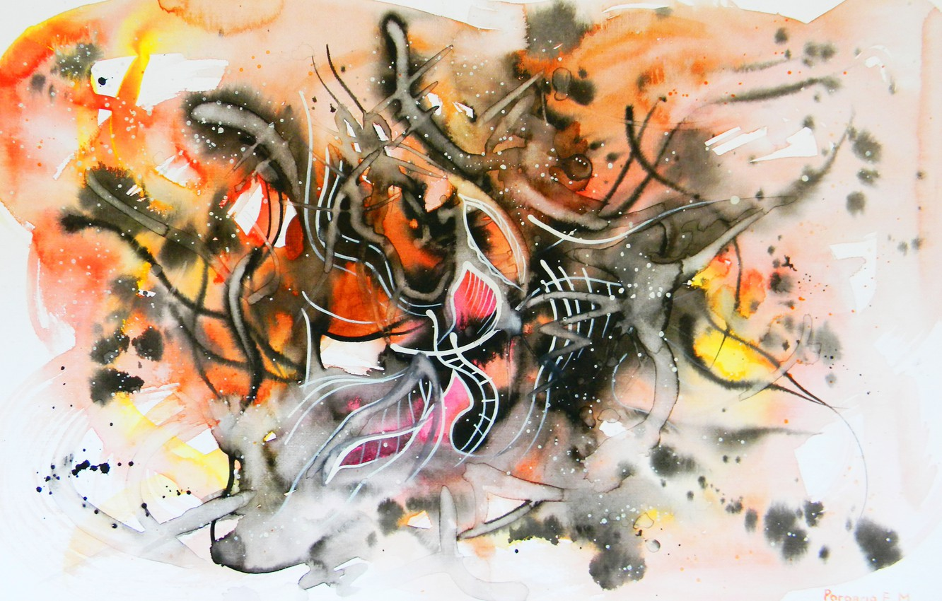 Photo wallpaper ash, fire, flame, figure, oil, the fire, markers, gouache, Watercolor, acrylic, gel, pastel., Abstract, Lena …