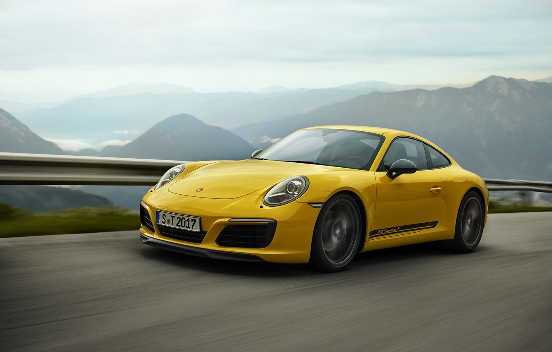 Photo wallpaper road, yellow, Porsche, the fence, mountain landscape, 911 Carrera T