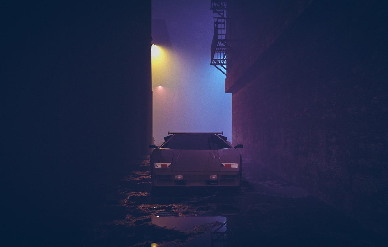 Wallpaper Auto Night Music Lamborghini Neon Machine White