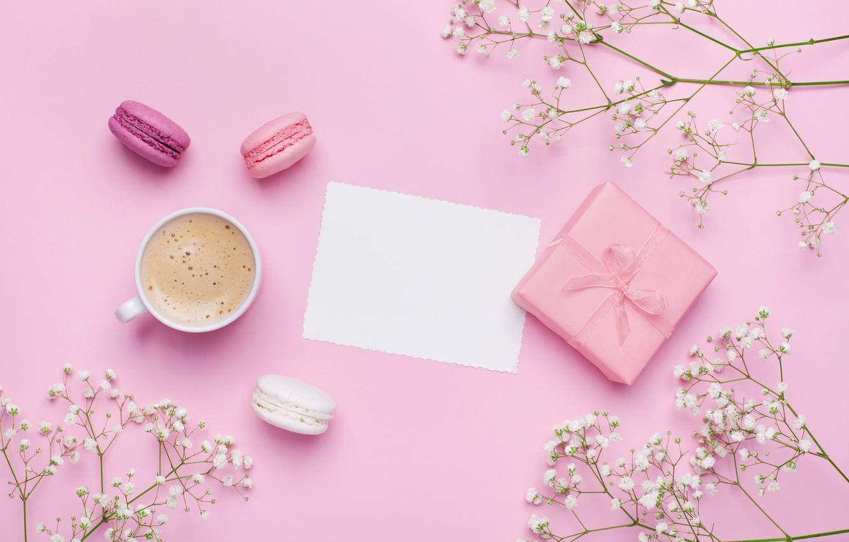 Photo wallpaper flowers, coffee, food, drink, cake, pink, coffe, macaron, gift box, Julia Sudnitskaya