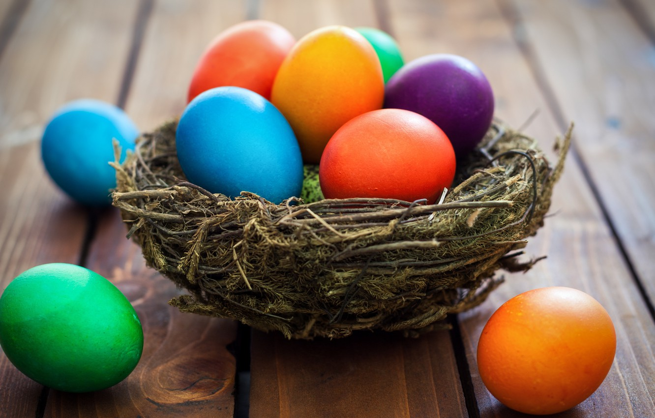 Photo wallpaper basket, colorful, Easter, wood, spring, Easter, eggs, decoration, Happy, the painted eggs