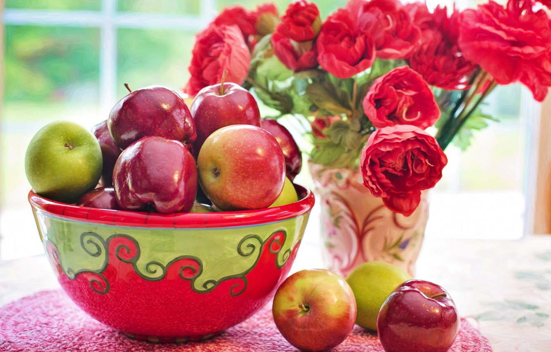 Photo wallpaper flowers, apples, bouquet, still life