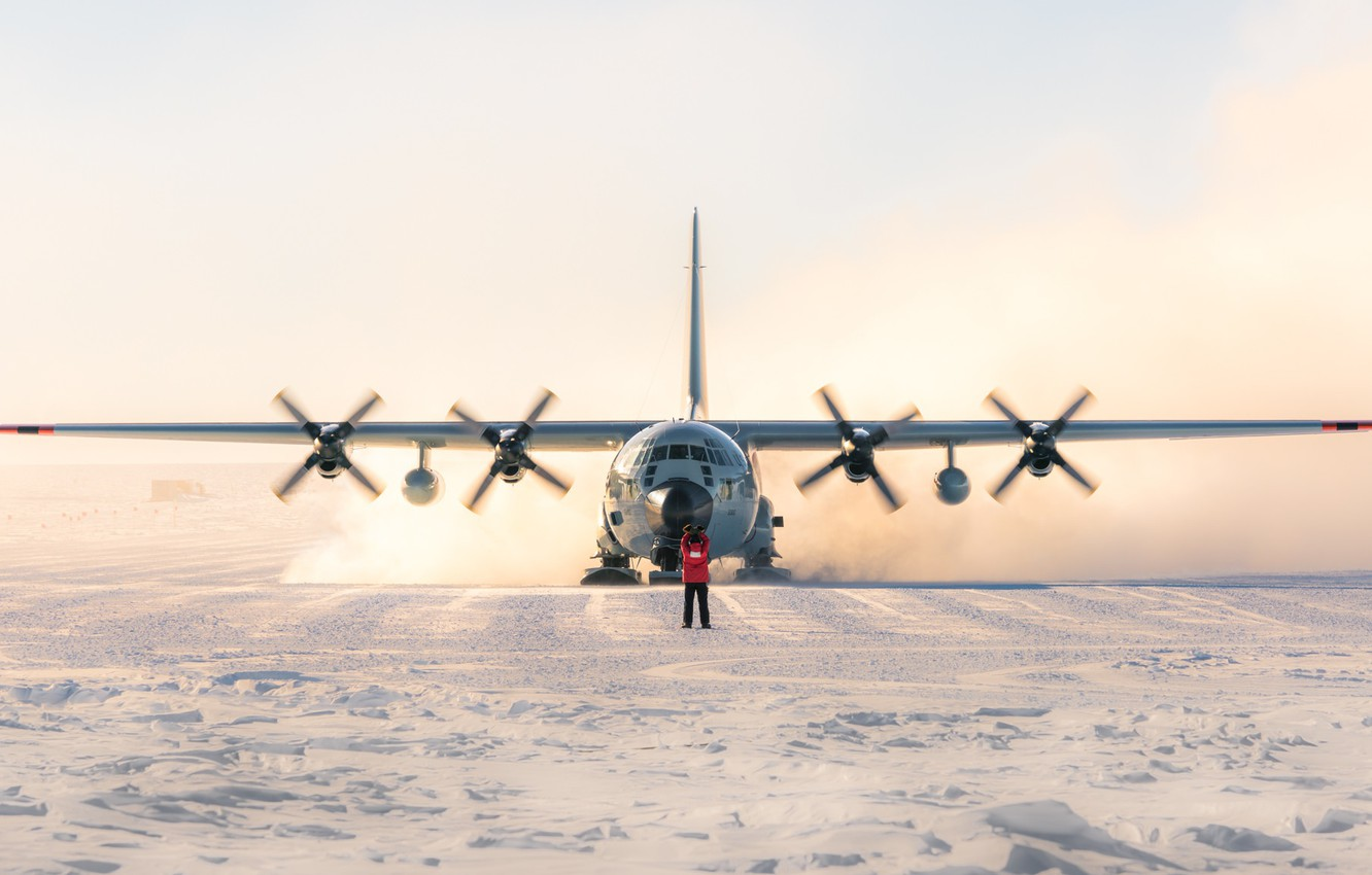 Photo wallpaper south pole, antarctica, LC130 Hercules