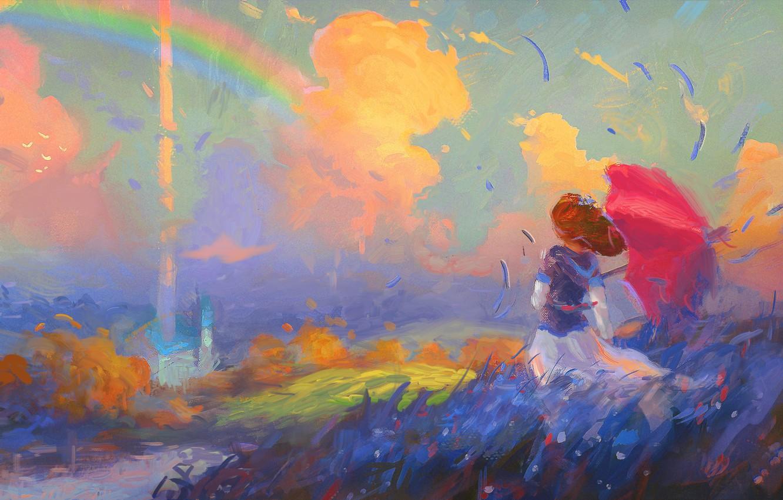 Photo wallpaper field, the sky, girl, clouds, the wind, rainbow, hat, umbrella, art, girl