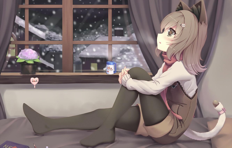 Photo wallpaper anime, girl, kitty