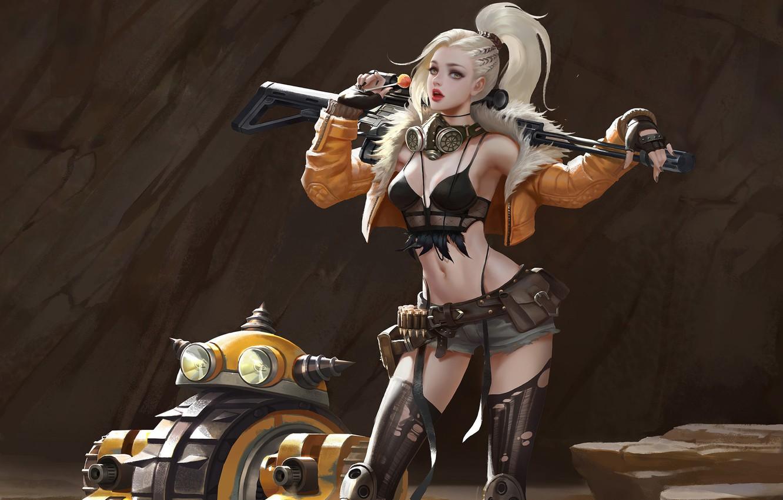 Photo wallpaper look, girl, pose, weapons, art, blonde, tail, sci-fi