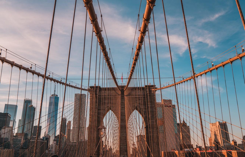 Photo wallpaper bridge, city, the city, movement, city, street, New York, USA, USA, Brooklyn bridge, bridge, New …