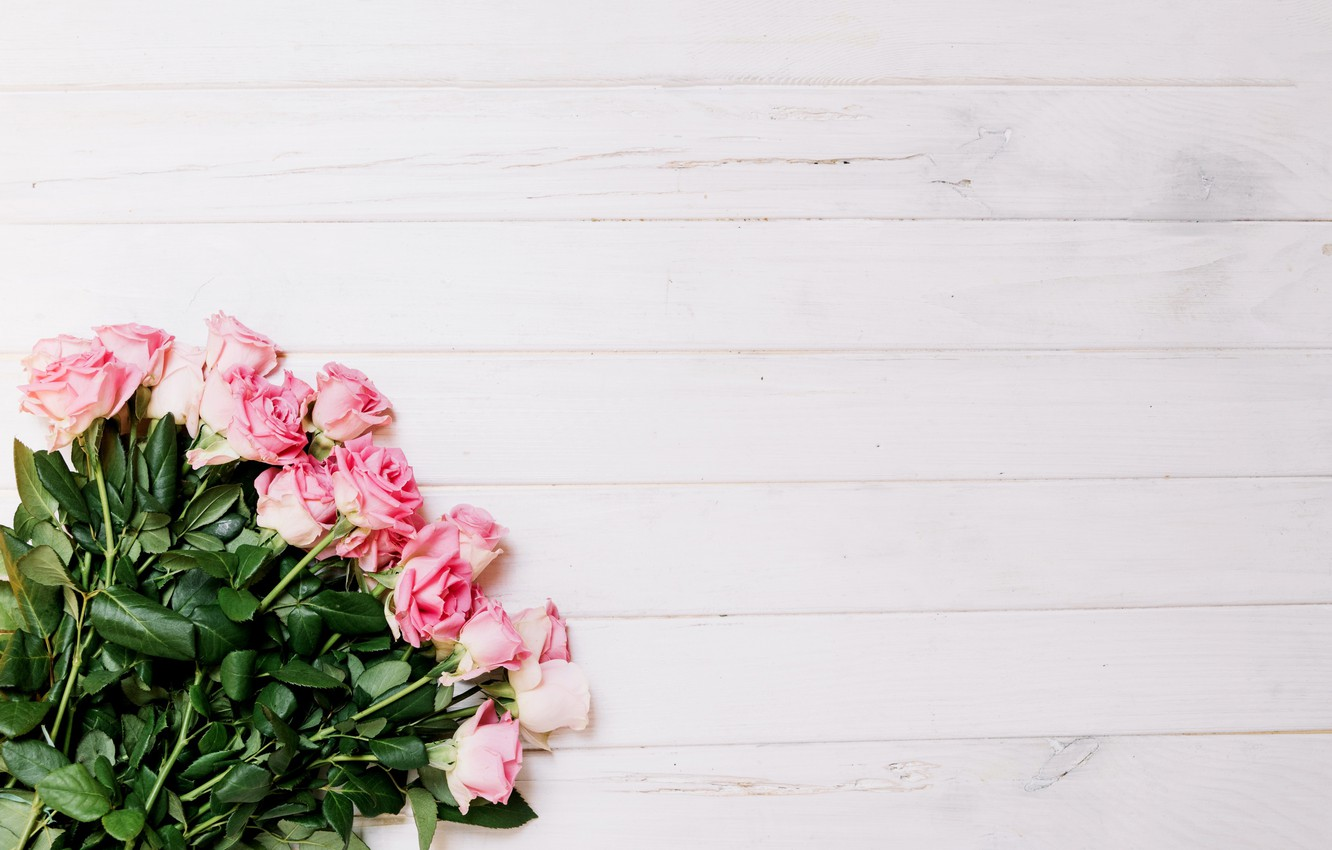 Photo wallpaper flowers, roses, bouquet, pink, buds