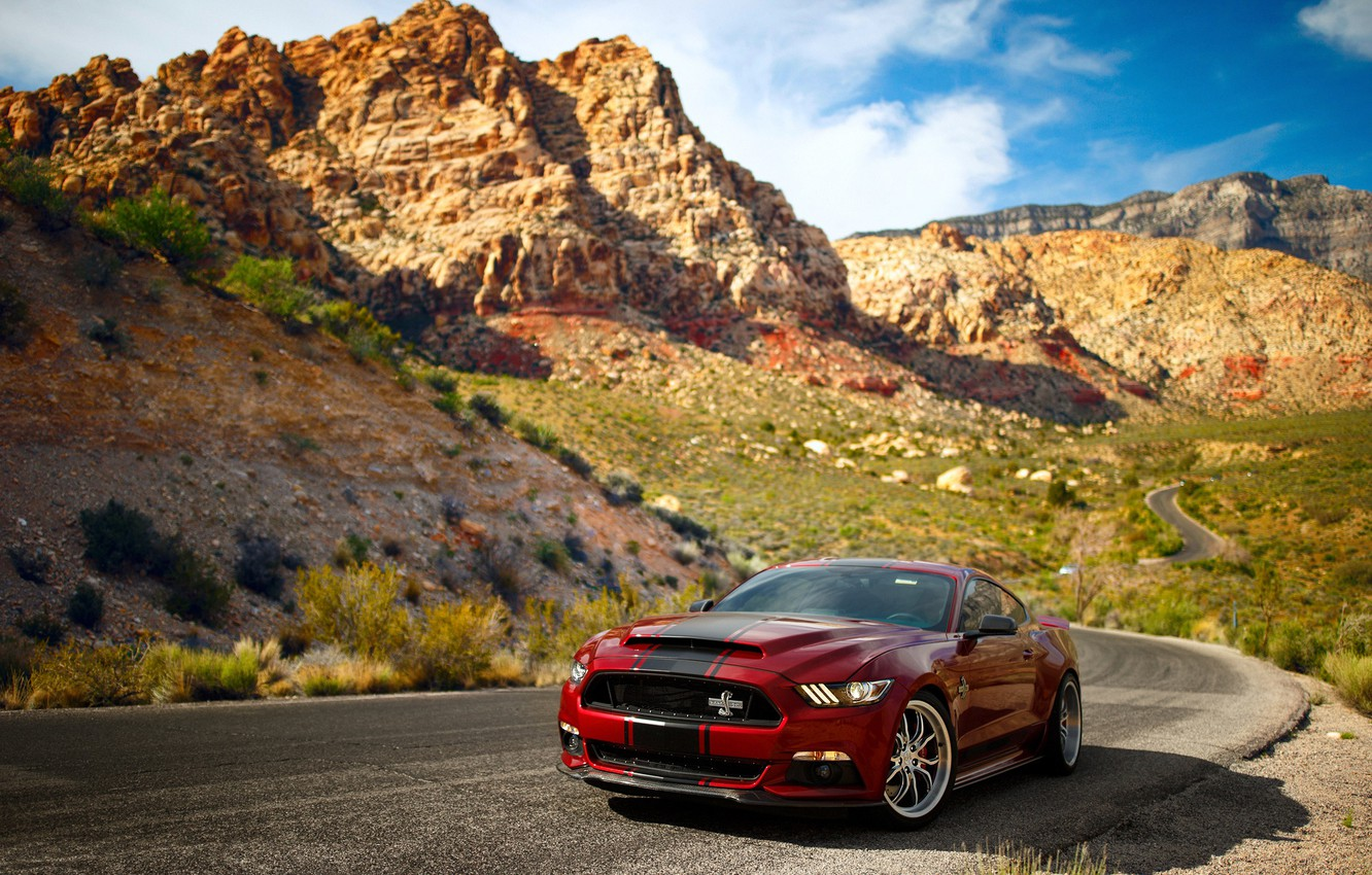 Photo wallpaper road, the sky, mountains, rocks, Mustang, Ford, Shelby, Super Snake