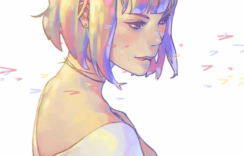 Photo wallpaper haircut, shoulders, neck, art, bangs, portrait of a girl, half a turn, bit his lip, …